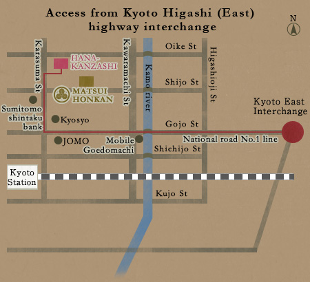 Access from Kyoto higashi