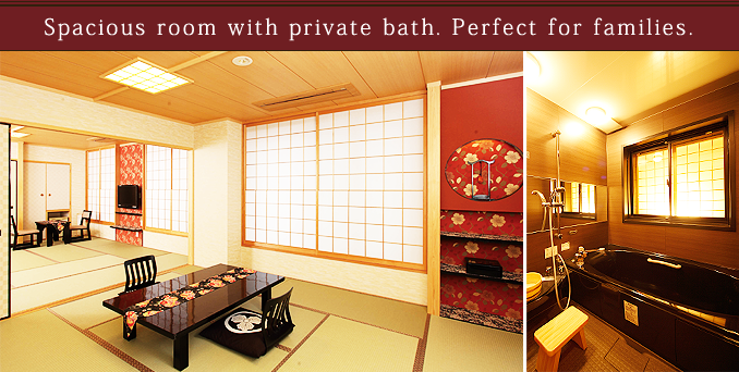 Spacious room with private bath. Perfect for families.