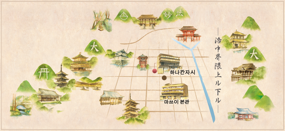 World Heritages Near to Matsui-Honkan map